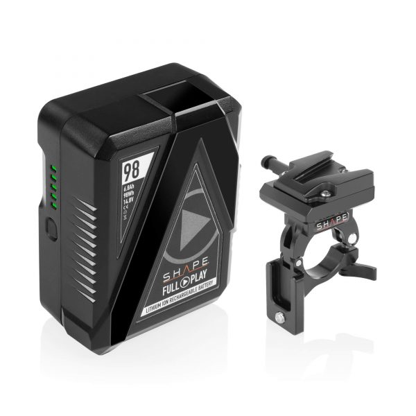 SHAPE FULL PLAY 14.8V 98WH RECHARGEABLE LITHIUM-ION V-MOUNT BATTERY WITH V-MOUNT BATTERY DOCK CLAMP FOR 30MM GIMBAL HANDLEBAR